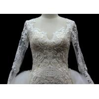 Buy Long Sleeves lace application detached train mermaid wedding dresses at wholesale prices