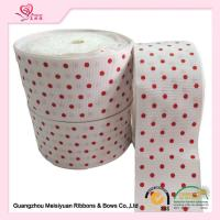 Quality 2 Inch White Custom Printed Grosgrain Ribbon With Red Polka Dots For DIY Handwork for sale