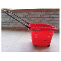 Quality Stackable Plastic Shopping Basket With Wheels For Grocery / Supermarket SGS for sale