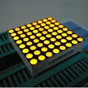 Yellow 3mm 8 x 8 Dot Matrix Led Display With White Dots Black Surface