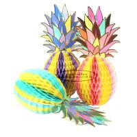 Quality Multicolor Pineapple Summer Themes Decoration Honeycomb Poms for sale