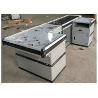 Quality Automatic Stainless Steel Cash Checkout Counter Desk /  White Reception Cashier Counter for sale