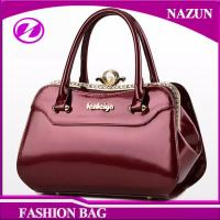 Quality 2017 New designer European durable custom-made fashion glossy classical rose red pu leather ladies bags handbags for sale