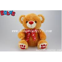 Quality 100%Polyester Plush Toy Bear In Brown Color With Red Nose Paw and Ribbon for sale