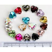 Quality heart shape 10mm colored crystal sew on rhinestone beads Fancy Stones Jewels for sale