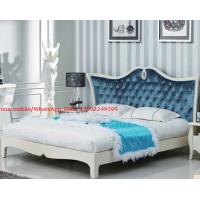Quality Neoclassical design Luxury Furniture Fabric Upholstery headboard King Bed with Crystal Pull buckle Decoration for sale