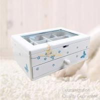 China Butterfly Flower MDF Matte White Wooden Girl's Jewelry Storage Display Chest Box with Window , Personalized Logo Brand. on sale
