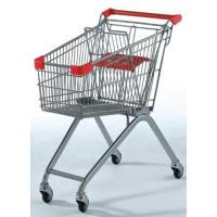 Quality Red Grocery store Wire Shopping Trolley Metal Retail Carts 70L Printed Logo for sale