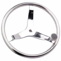 Quality Stainless Sailboat Steering Wheel 393MM Diameter 3 Spokes With Nut And Knob for sale
