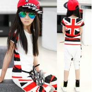 Quality Flag Child Clothes Set wholesale (6-15 year children clothes) for sale