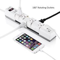 Quality 6 Outlets180 Rotatable Electrical Power Strip Surge Protector with Dual 3.4A Smart USB Ports for sale