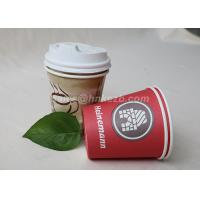 Quality Single Wall Disposable Paper Coffee Cups With Plastic Lids Customized Logo Printed for sale