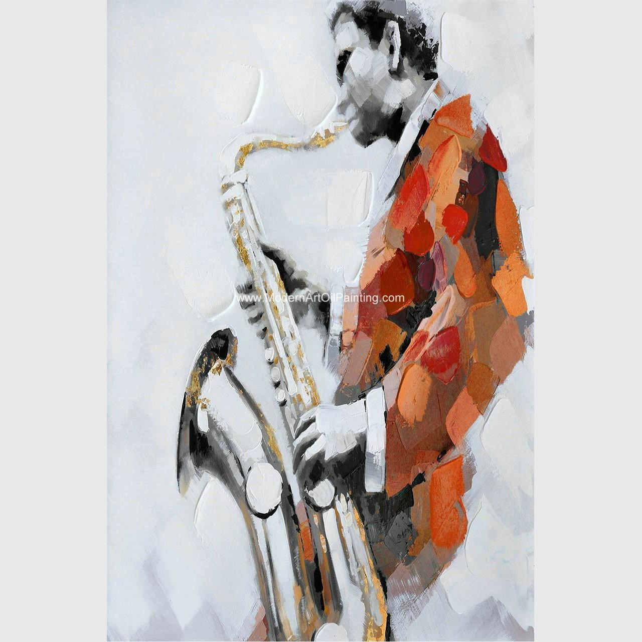 Quality Custom Oil Painting Modern Abstract Art Handmade Canvas Saxophone Room Decor for sale