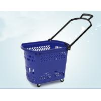 Buy Durable Rolling Plastic Shopping Basket With Wheels OEM / ODM Available at wholesale prices