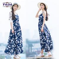 Quality Summer beach floral spaghetti straps maxi latest party designs 100% cotton white dress with good quality for sale