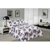 Quality Blue Square Printed Quilt Set Machine Washing In Cold Water Separately For Family for sale