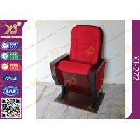 Quality Public Folded Veneer Auditorium Chairs / Red Lecture Hall Seating for sale