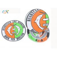 China Bulk Design Round Woven Label Patch Custom Made Club Name Logo In Clothing on sale