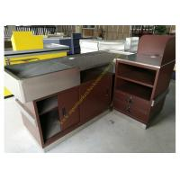 Quality Stainless Steel Supermarket Checkout Counter / Store Non Electric Cashier Desk for sale