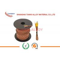 China 20 AWG 24 AWG brown color Thermocouple Extension Wire / Cable Type K J T E S With 2 Core Unscreened PTFE Sheath on sale