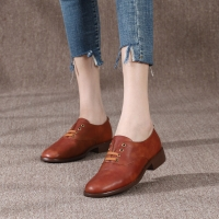Quality HZM032 Cowhide Women'S Single Shoes Autumn And Winter New British Style Women'S Shoes Retro All-Match Derby Shoes Soft S for sale