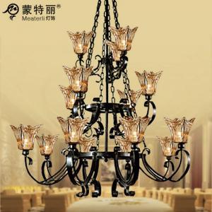 China Retro Modern Chandelier Lighting Iron Glass Traditional Pendant on sale