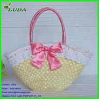 Quality Lace/bowknot trmming handmade corn husk shoulder bag for sale