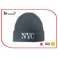 Quality 2D Machine Embroidery Letter Men Knit Cap Grey Billed Knit Hat for sale