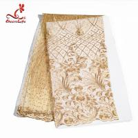 China Multi Colored Beaded Lace Fabric Embroidered Lace Fabric For Indian Sarees on sale