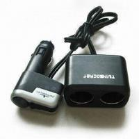 Quality USB Car Cigarette Lighter Adapter with Two Sockets, Measures 56 x 33 x 32mm for sale