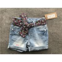 Quality Popular Light Wash Denim Shorts / Stretchy Jean Shorts With Printed Woven Fabric Belt for sale