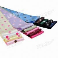 China 4-inch Polka Dot Printed Satin Ribbons, 14 Colors Available/10,000 Yards in Stock for Each Color on sale