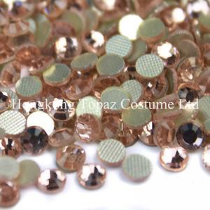Quality peach/champagne color Round hotfix rhinestone flatback  Glass beads for sale