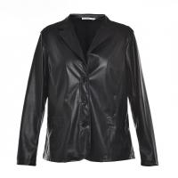 Quality Slim Fitted Style Ladies PU Jackets / Womens Faux Leather Jackets Lapel Collar for sale