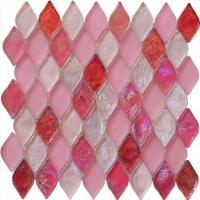 Quality Pink color water waving glass mosaic tile diamond shape for dreaming girl for sale