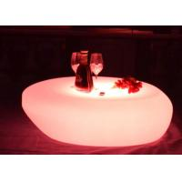 Quality PE Rechargeable Led Light Up Round Led Cocktail Table With Pink Green Yellow Color for sale