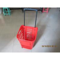 Quality Castor Rolling Shopping Basket With Wheels , 4 Wheeled Plastic Shopping Baskets for sale