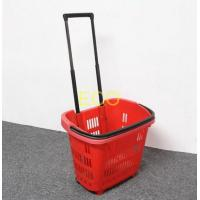 Quality Polypropylene Supermarket Plastic Handy Shopping Basket With Wheels SGS ISO9002 for sale