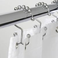Quality 801HD001 Skynavo Stainless Steel Metal Double Glide Shower Curtain Rings Rust-proof Hooks Brushed Nickel 12 Count for sale