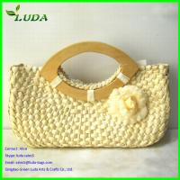 Quality Straw Beach Bag with Wooden Handles for sale