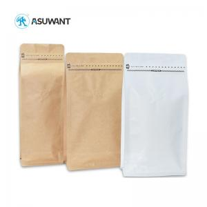 China Foil Lined VMPET Flat Bottom Kraft Coffee Bags With Valve on sale