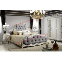 Quality Luxury Upholstery Fabric Headboard Padding with Solid Wood Bed in Ivory White Painting for sale