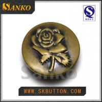 Quality Customized new design metal button for jeans trouses buttons with rose logo for sale