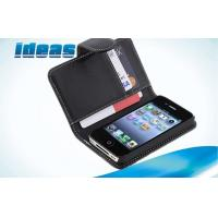 Quality Black 4S 4G Apple iPhone Leather Cases and Wallet Protection For Men for sale