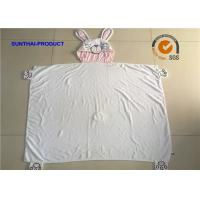 Quality 100% Cotton Terry Fabric Newborn Baby Blankets With Rabbit Applique Embroidery for sale