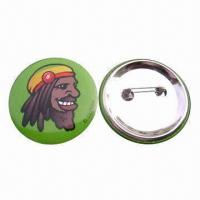 Quality Pin Button Badge, Made of Paper, Tinplate and Pin, Non-toxic and Eco-friendly for sale