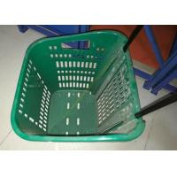 Quality Red Plastic Basket Carts With Wheels Supermarket / Vegetable Shopping Basket for sale