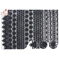 China 120CM Width Eco Dyeing Black Lace Fabric With Floral Pattern High Color Fastness on sale
