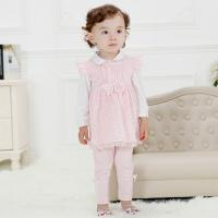 Quality 2014 autumn new Dot 3 Pieces baby girls fund outfit cotton baby dress suit (0-3 Year) for sale