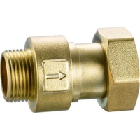 Quality 3106 Water Meter Brass Check Valve Spring Type DN15 DN20 DN25 with Male Threads x Flexible Female Threaded Hexagon Nut for sale